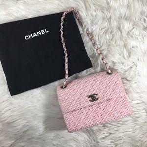 Chanel Tweed Pink Flap Vintage Silver Hardware
